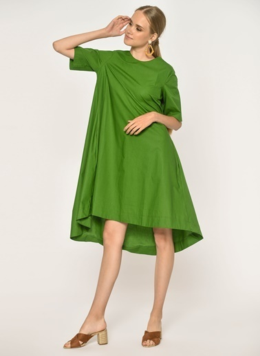 Loves You Kısa Kol Poplin Elbise Yeşil